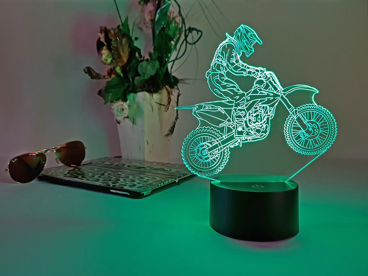 """Детский ночник - светильник """"Мотоцикл 6 """"   3D TOYSLAMP, фото 1"""