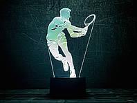 "3D светильник-ночник  ""Теннисист"" 3DTOYSLAMP, фото 1"