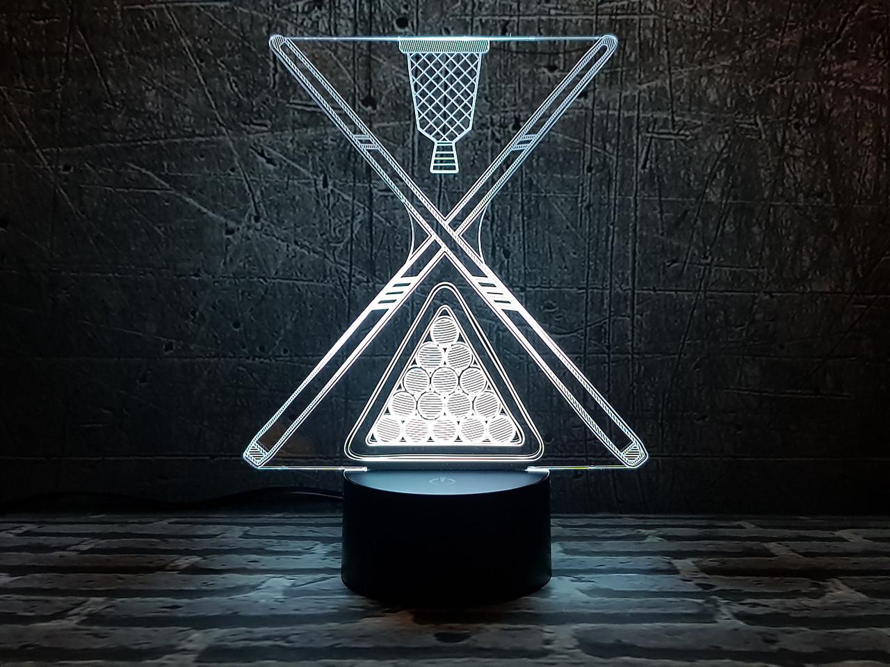 "3D светильник ""Бильярд 2 "" 3DTOYSLAMP, фото 1"