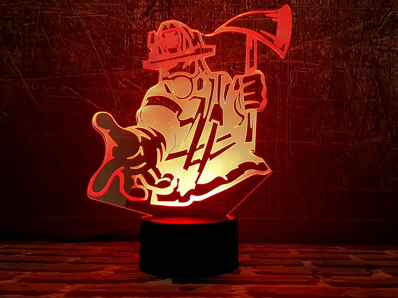 """3D светильник """"Пожарный """" 3DTOYSLAMP"""