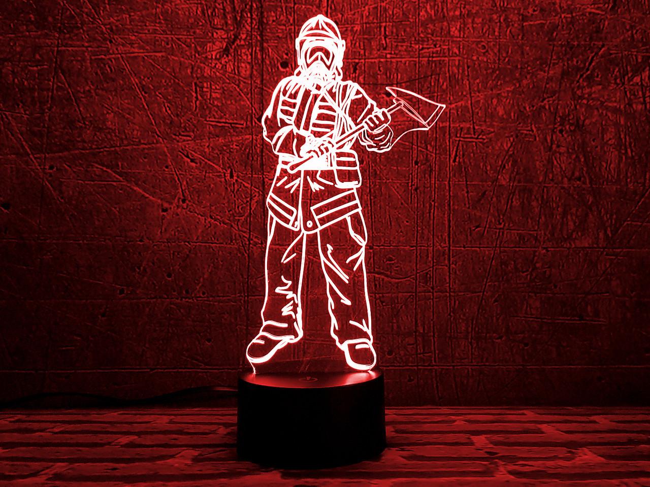 """3D светильник """"Пожарный 3 """" 3DTOYSLAMP"""