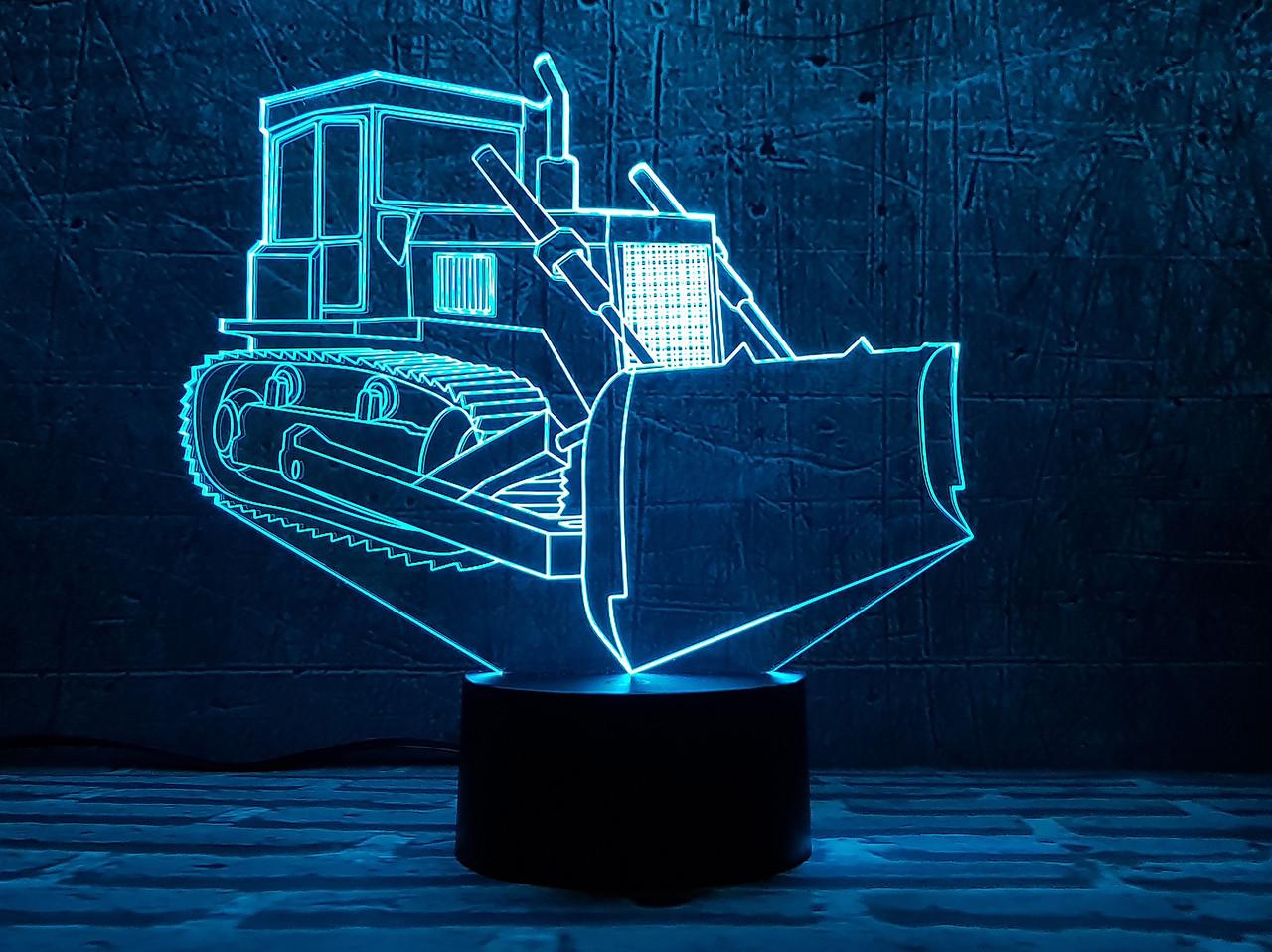 """3D светильник ночник """" Бульдозер  """" 3DTOYSLAMP, фото 1"""