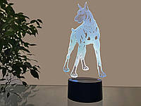 "3d светильник ""Доберман"" 3DTOYSLAMP, фото 1"