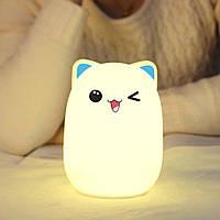 """Силиконовый ночник-игрушка """"Котик""""  3DTOYSLAMP с голубыми ушками"""
