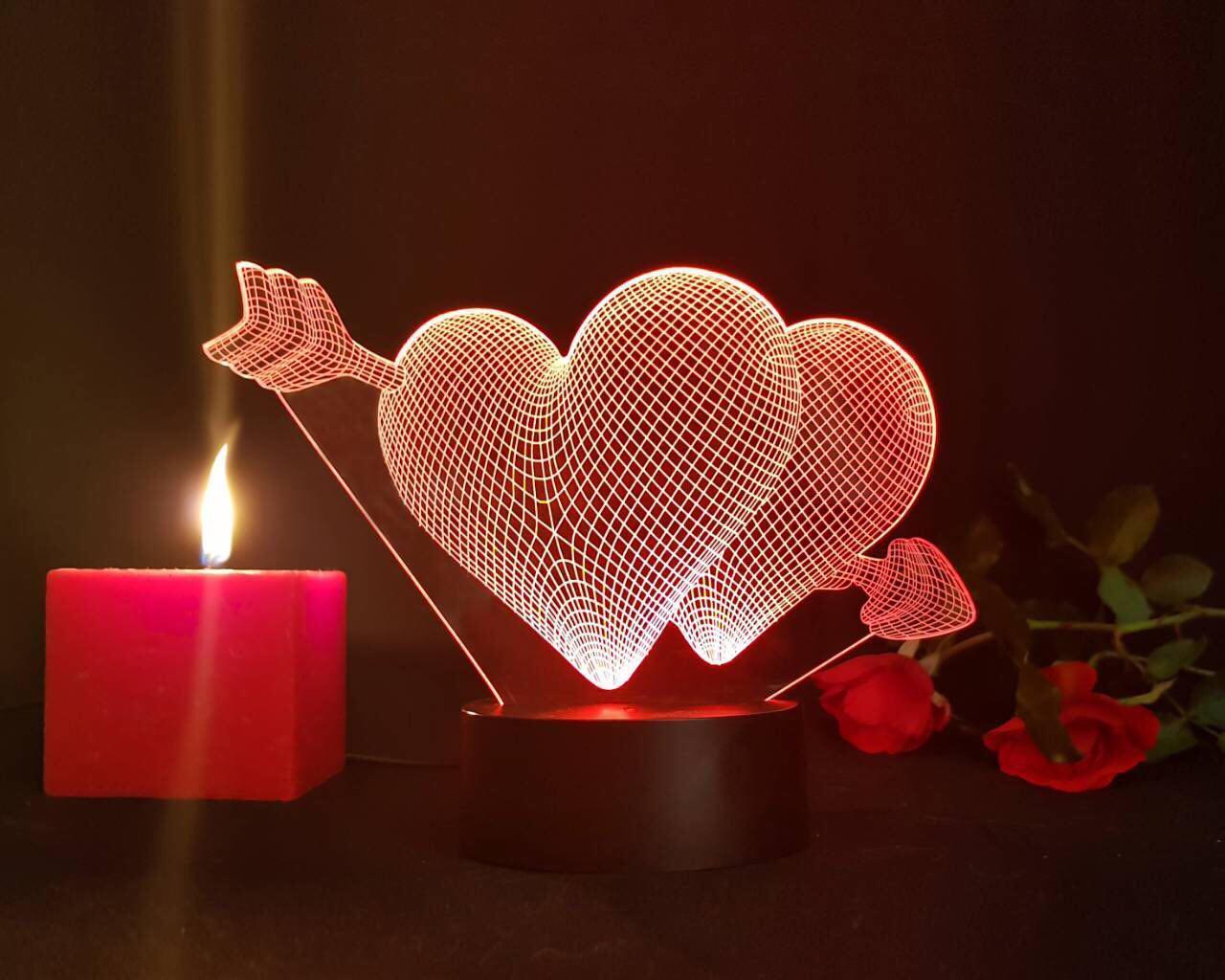 Ночник 3D светильник «2 сердца со стрелой» 3D Creative