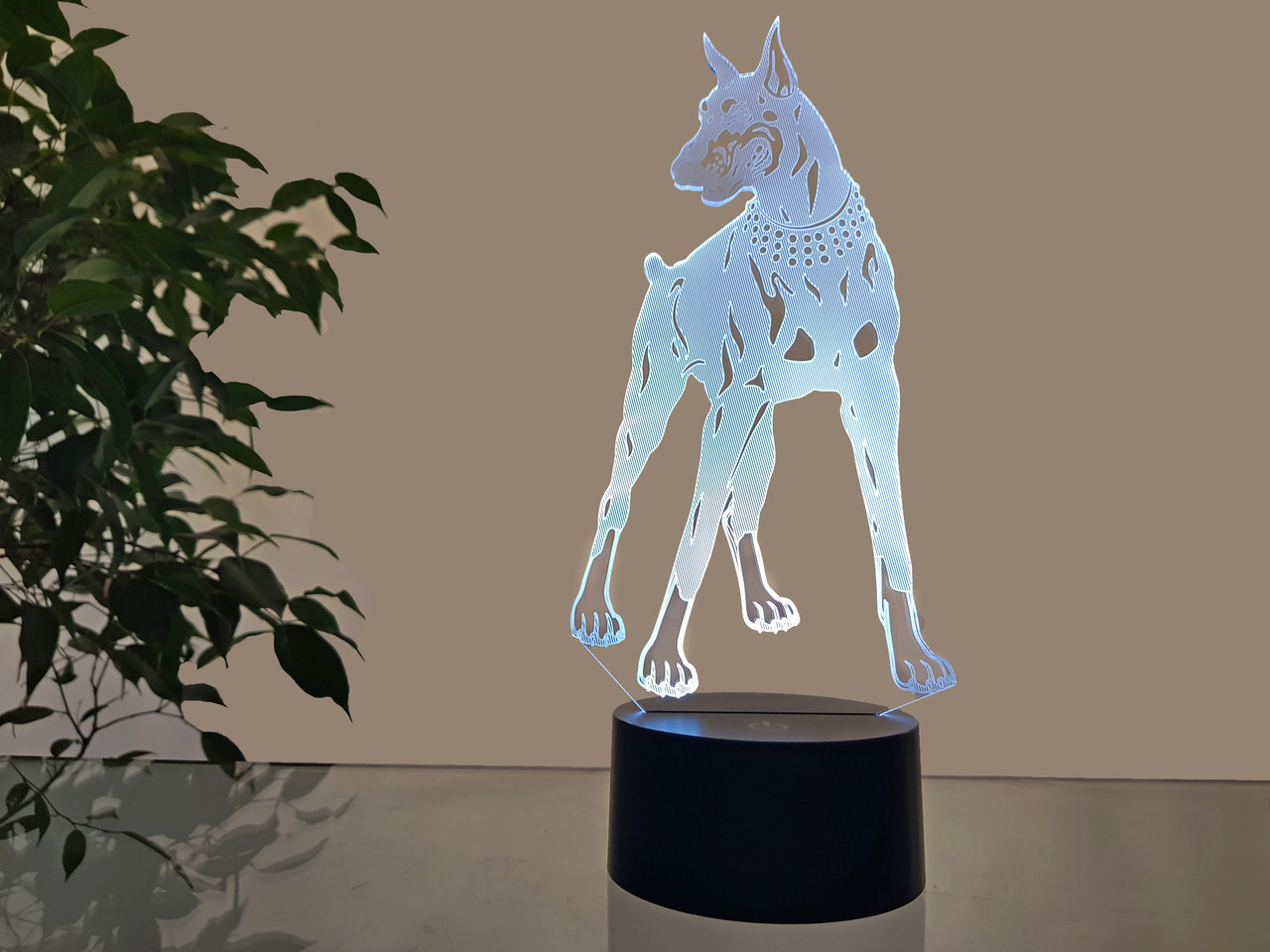 """Сменная пластина для 3D светильников """"Доберман"""" 3DTOYSLAMP"""