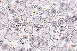 """Ткань муслин """"Бегемотики, птички, деревья"""" серые на белом, ширина 80 см, фото 2"""
