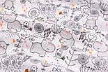 """Ткань муслин """"Бегемотики, птички, деревья"""" серые на белом, ширина 80 см, фото 3"""