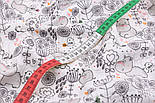 """Ткань муслин """"Бегемотики, птички, деревья"""" серые на белом, ширина 80 см, фото 4"""