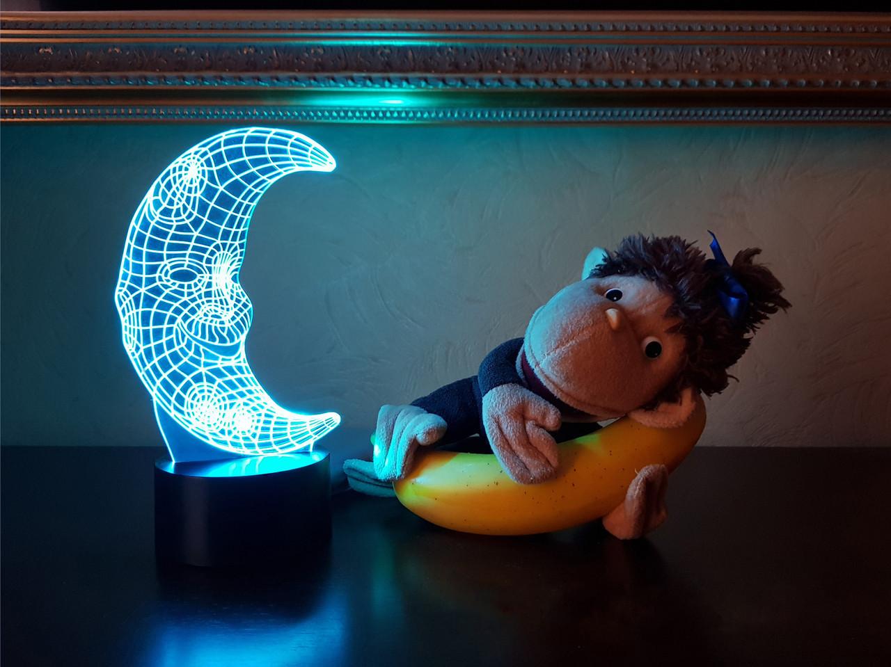 """Сменная пластина для 3D светильников """"Месяц"""" 3DTOYSLAMP"""