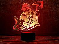 """Сменная пластина для 3D светильников """"Пожарный"""" 3DTOYSLAMP, фото 1"""