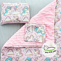"""Детский плюшевый плед конверт, Пелюшка и подушка """"Единороги"""" 80 х 90 см плюш розовый baby lucky"""