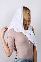 Платок церковный белый с кружевом Анабель