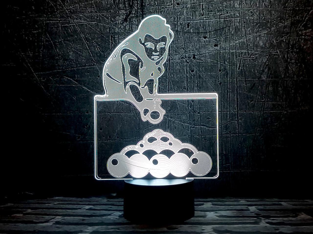 """Сменная пластина для 3D светильников """"Бильярд"""" 3DTOYSLAMP, фото 1"""