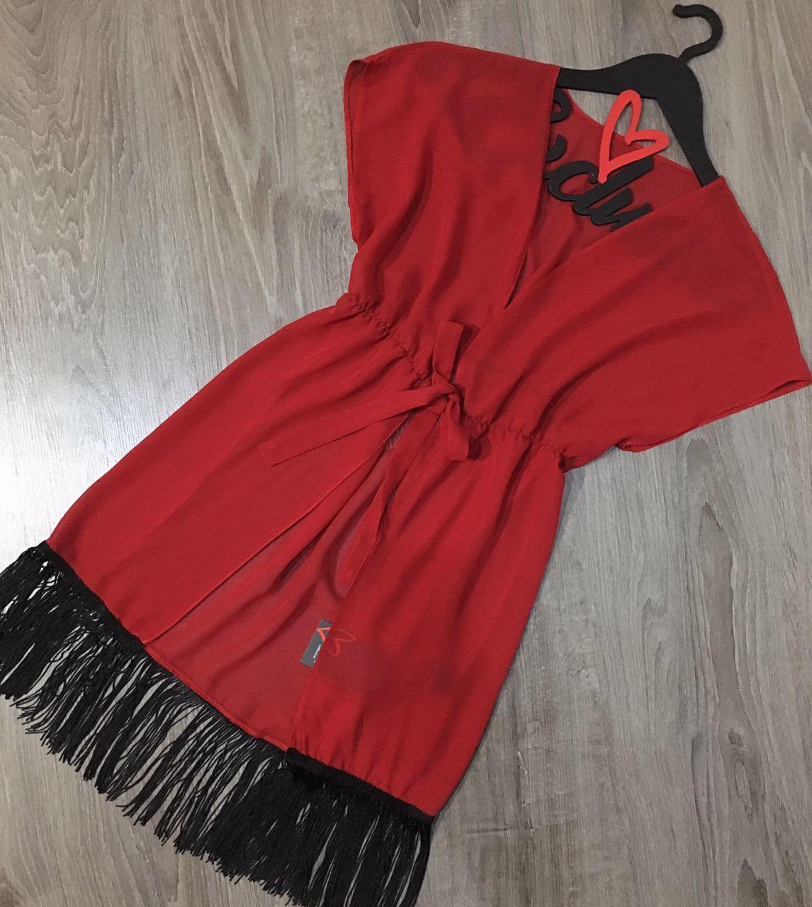 Червона прозора туніка, сукня під купальник з бахромою