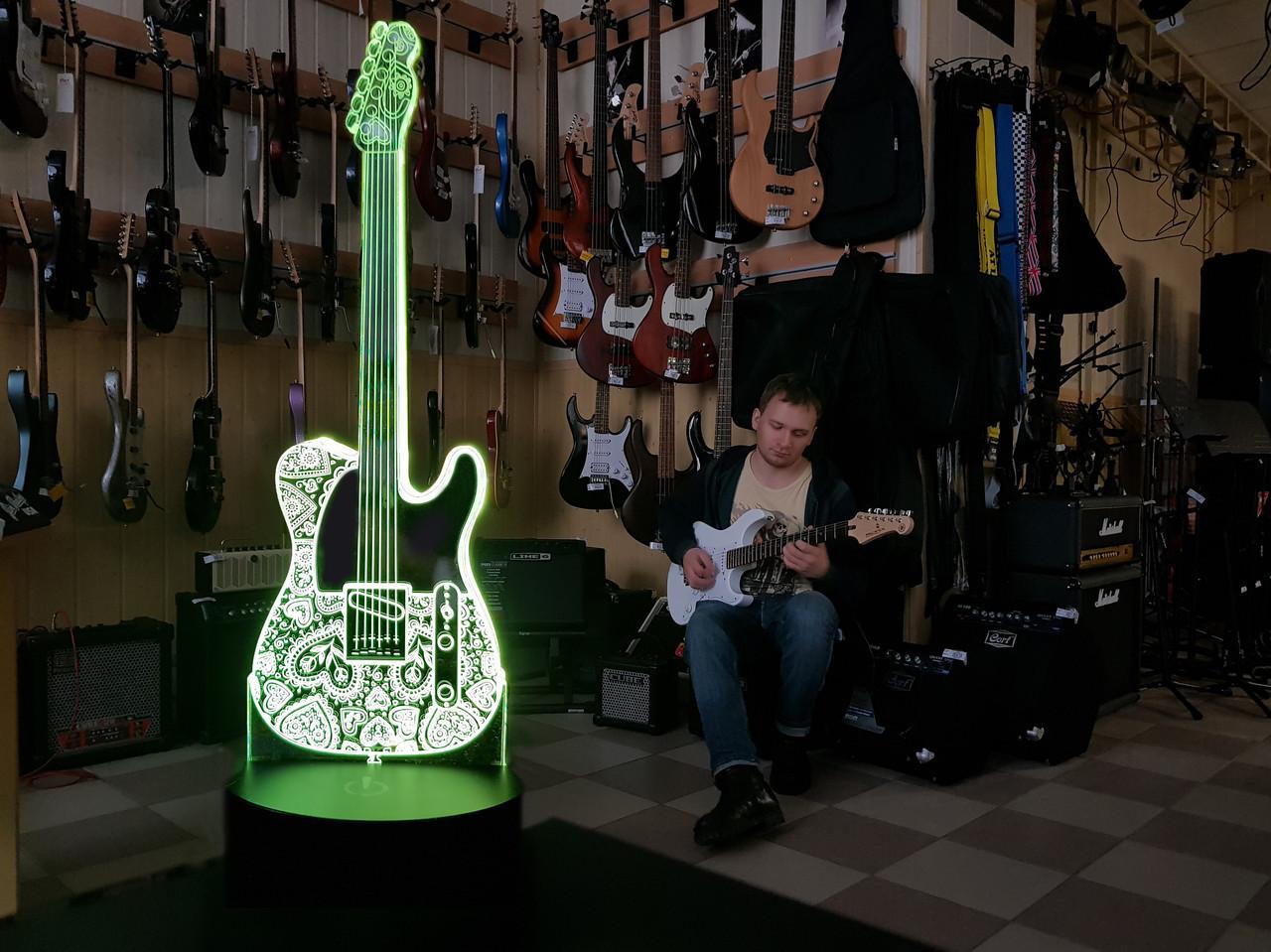"""Сменная пластина для 3D светильников """"Гитара 2"""" 3DTOYSLAMP"""