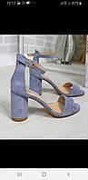 Элегантные босоножки низький  удобный каблук  blue