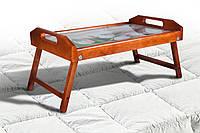 Столик для завтрака дерево, стекло тюльпаны, цвет яблоня