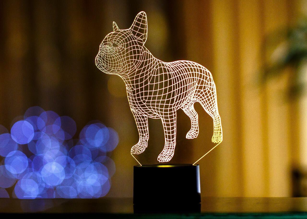 """Сменная пластина для 3D светильников """"Французский бульдог"""" 3DTOYSLAMP"""