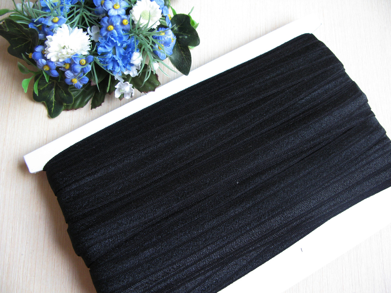 Бейка - резанка (лента-стрейч) цвет черный 1.5 см