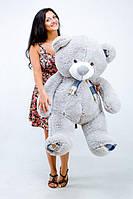 """Плюшевый мишка Плюша 1м 30 см серый TeddyBoom """"Клетка"""""""