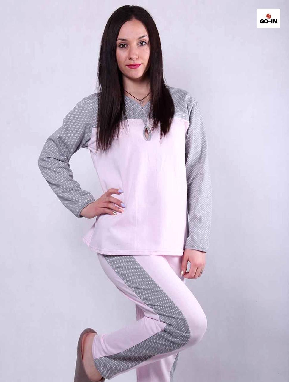 Пижама женская с начесом розовая 44-56 р.
