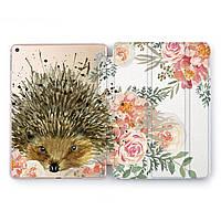 Чехол книжка, обложка для Apple iPad (Ежик, цветы, пионы) модели Pro Air 9.7 10.5 11 12.9 mini 1 2 3 4 айпад про эйр 2017 2018 2019 case smart cover