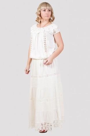 Нарядная летняя юбка стильного кроя с ажурными вставками производитель Индия