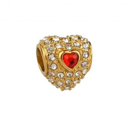 Бусина Pandora позолоченное сердце с красным фианитом 137152