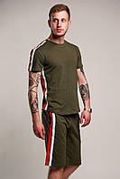 Футболка + шорти з лампасами чоловіча річна стильна, колір зелений (хакі)