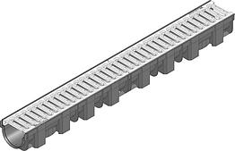 Жолоб HAURATON TOP Х (119 х 89 х 1000), PP-PE (чорний), з оцинк. щілинною решіткою (SW 9мм), кл. CAR TRAFFIC,