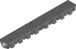 Жолоб HAURATON TOP Х (119 х 89 х 1000), PP-PE (чорний), з решіткою PP -copo прямокут. отвір (MW 8/21), кл. CAR