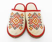 """Тапки для сауны/бани женские вышивка """" Украинский орнамент красный"""""""