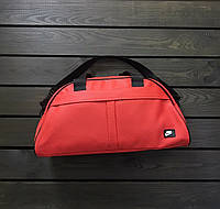 Мужская/женская красная спортивная/дорожная сумка эко-кожа/кожзам/искусственная кожа найк/Nike