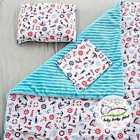 """Детский плюшевый плед конверт, Пелюшка и подушка """"Кораблики"""" 80 х 90 см плюш синий baby lucky"""