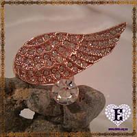 Необычное кольцо-крыло розовая позолота 585*