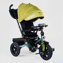 Велосипед детский трехколесный Best Trike с поворотным сиденьем 9500 - 2774 и надувными колесами, зеленый