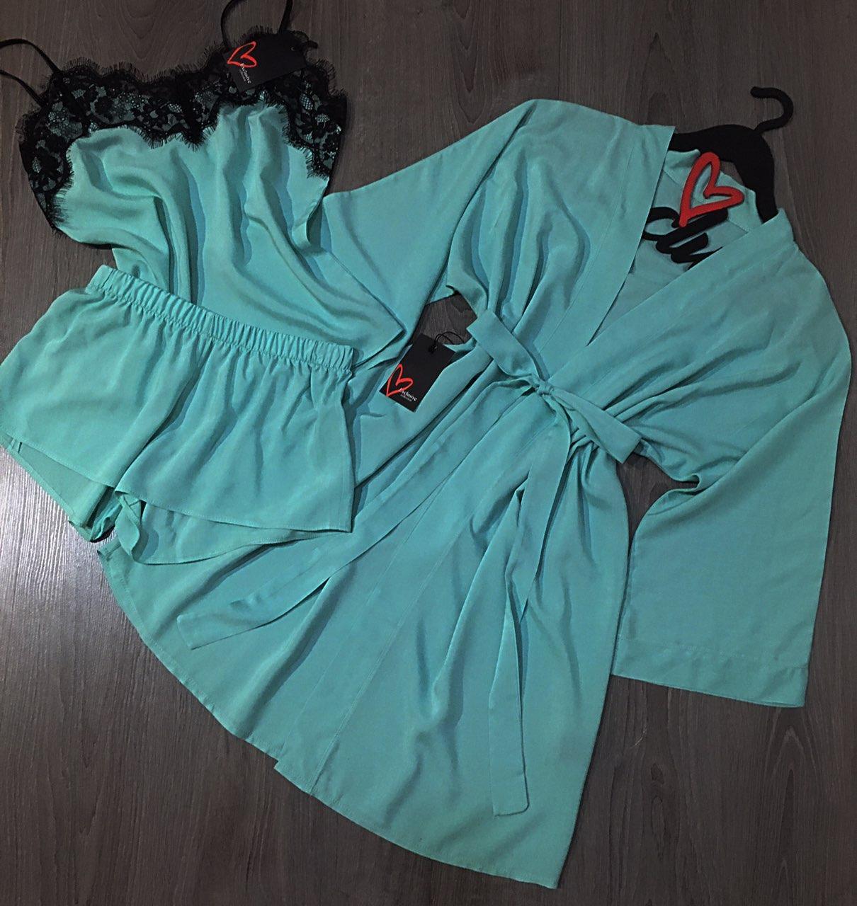 Мятный хлопковый домашний комплект халат+пижама.