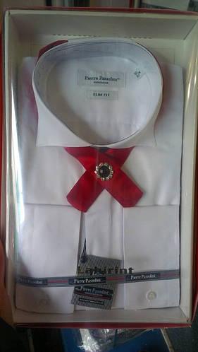 Мужская рубашка под бабочку приталенная с длинным рукавом Pierre Pasolini(в стоимость не входит бабочка)