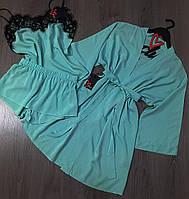 Комплект для дома халат+майка+шорты из натуральных тканей.