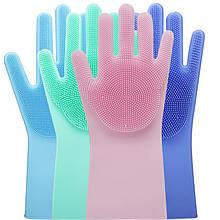 Рукавиці для миття посуду Kitchen Gloves багаторазові силіконові зручні рукавички