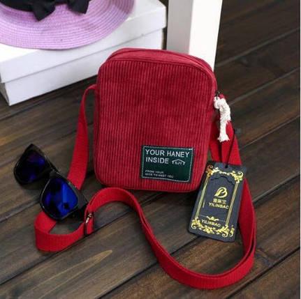 Не большая вельветовая сумка-почтальон, фото 2