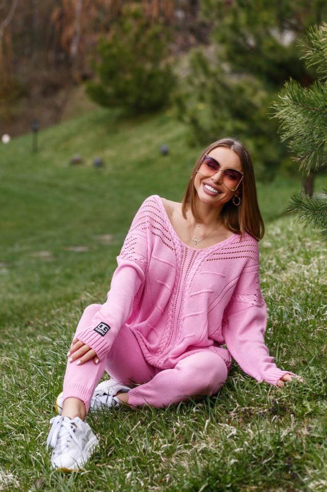 Розовый женский костюм из органического хлопка