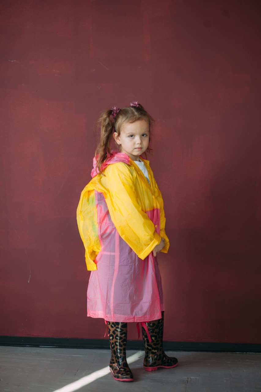 Плащ-дождевик детский водонепроницаемый Kids Rain Розовый с желтым 110-120 см  (YH 868)