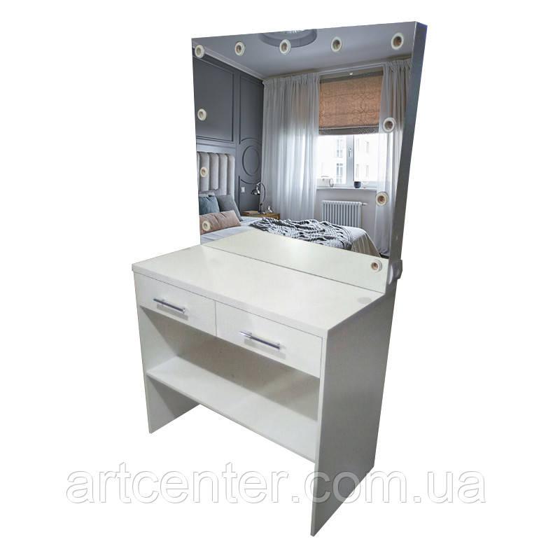Туалетный столик белый с выдвижными ящиками и нижней полочкой