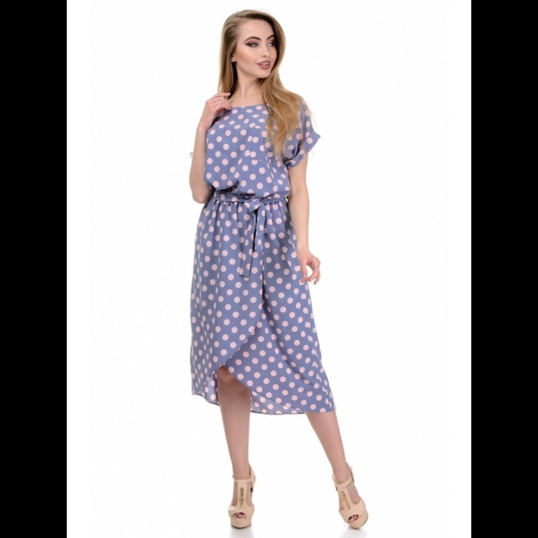 Платье, цвет горох - розовый