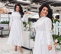 Женское платье длинное летний сарафан софт спереди пуговицы пояс в комплекте батал размер:50/52,54/56, фото 1