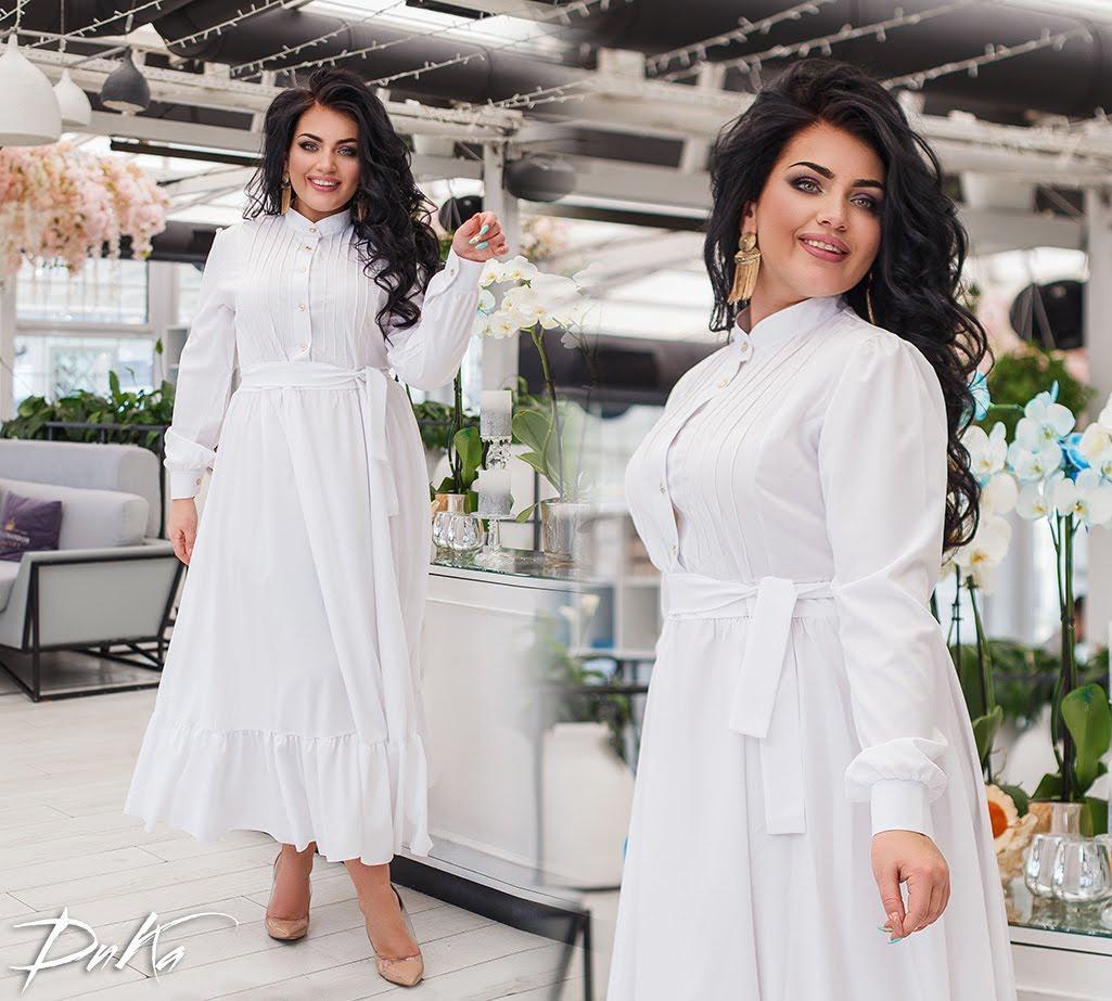 Женское платье длинное летний сарафан софт спереди пуговицы пояс в комплекте батал размер:50/52,54/56