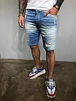 Мужские джинсовые шорты светло-синие 3313-1046, фото 1