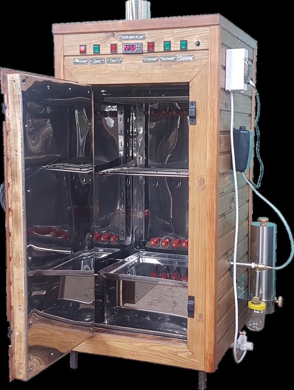 Коптильня 250л -холодного и горячего копчения, +просушка и конвекция. Нержавейка внутри, крыша плоская
